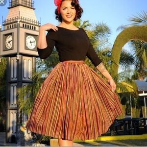 Pinup couture warm cabana striped skirt sz S